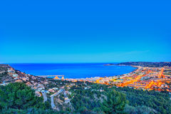 Javea Xabia aerial skyline sunset in Alicante Stock Photo