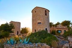 Javea Xabia el molins på solnedgången i Alicante Royaltyfria Foton