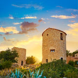 Javea Xabia el molins at sunset in Alicante Stock Photo