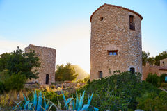 Javea Xabia el molins at sunset in Alicante Royalty Free Stock Photo