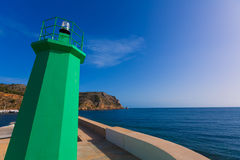 Javea Xabia green lighthouse beacon Alicante Spain Stock Photography