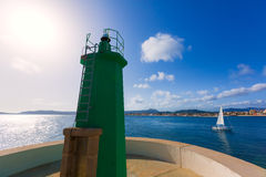 Javea Xabia green lighthouse beacon Alicante Spain Royalty Free Stock Images