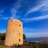 Javea Xabia Molins de la Plana old windmills Alicante Stock Image