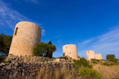 Javea Xabia Molins de la Plana old windmills Alicante Royalty Free Stock Photography