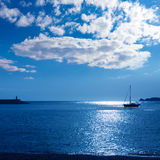 Javea Xabia morning light sailboat in Alicante Stock Images