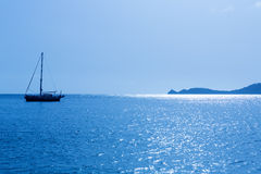 Javea Xabia morning light sailboat in Alicante Royalty Free Stock Photo