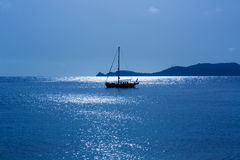 Javea Xabia morning light sailboat in Alicante Stock Photography