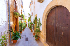 Javea Xabia old town streets in Alicante Spain. Javea Xabia old town Mediterranean streets in Alicante Spain Royalty Free Stock Photography