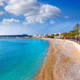 Javea Xabia Playa La Grava海滩在阿利坎特西班牙 免版税库存图片