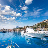 Javea Xabia port marina with Mongo mountain in Alicante Royalty Free Stock Images