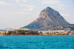 Javea Xabia port marina with Mongo mountain in Alicante Stock Image