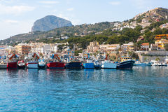 Javea Xabia port marina with Mongo mountain in Alicante Stock Images