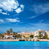 Javea Xabia skyline from Mediterranean sea Spain Stock Photography