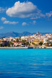 Javea Xabia skyline from Mediterranean sea Spain Royalty Free Stock Photography