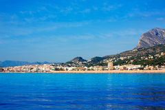Javea Xabia skyline from Mediterranean sea Spain Royalty Free Stock Images