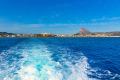 Javea Xabia skyline from Mediterranean sea Spain Stock Images