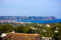Javea Xabia skyline with San Antonio Cape Alicante Royalty Free Stock Image