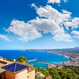 Javea Xabia village aerial in Mediterranean spain Royalty Free Stock Images