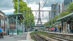 Javel train station with Eiffel tower on background timelapse. Paris, France stock footage