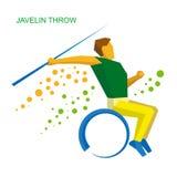 Javelin спортсмена кресло-коляскы бросая Плоский значок спорта Стоковые Изображения