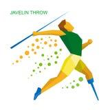 Javelin физически неработающего спортсмена бросая Плоский значок спорта Стоковые Фотографии RF
