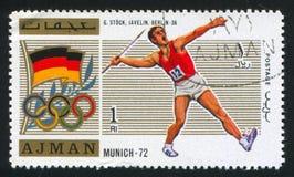 Javelin. AJMAN - CIRCA 1972: stamp printed by Ajman, shows javelin, circa 1972 Stock Photo