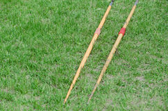 Javelin on green grass Royalty Free Stock Photography