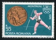 Javelin. ROMANIA - CIRCA 1976: stamp printed by Romania, show javelin, circa 1976 Royalty Free Stock Image
