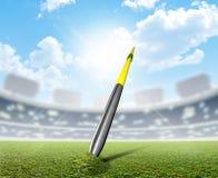 Javelin In Stadium And Green Turf Stock Photography