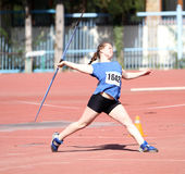 Javelin throw competition. YALTA, UKRAINE - APRIL 25: Mosiichuk Uliana compete in the javelin throw competition for girls age 16-17 on Ukrainian Junior Track and royalty free stock images
