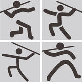 Javelin throw icons Stock Photography