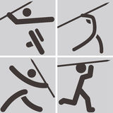 Javelin throw icons Royalty Free Stock Images
