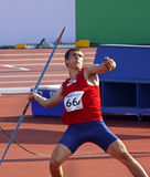 Javelin throw norway roe. MONCTON, CANADA - JULY 21: Martin Roe of Norway performs the javelin throw as part of the decathlon at the 2010 IAAF World Junior stock photography