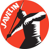 Javelin Throw Track and Field Athlete Circle Woodcut Royalty Free Stock Photos