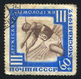 Javelin thrower. RUSSIA - CIRCA 1957: stamp printed by Russia, shows Javelin thrower, circa 1957 Stock Photos
