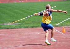 Javelin throwing. Kushniruk Yri wins javelin on Ukrainian Track & Field Championships on June 01, 2012 in Yalta, Ukraine Royalty Free Stock Photography