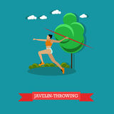 Javelin throwing sportswoman. Track and field athletics. Flat design Royalty Free Stock Images