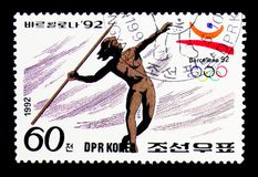 Javelin-throwing, Summer Olympics Barcelona (II) serie, circa 19. MOSCOW, RUSSIA - MARCH 18, 2018: A stamp printed in Democratic People's Republic of Korea shows Royalty Free Stock Photos