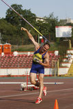 Javelin throwing. Unknown male athlete performing during javelin throwing discipline at Romanian International Atheltics Championship, Stefan cel Mare Stadium Stock Photos