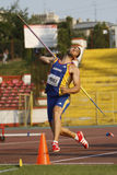 Javelin throwing. Unknown male athlete performing during javelin throwing discipline at Romanian International Atheltics Championship, Stefan cel Mare Stadium Royalty Free Stock Image