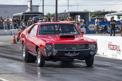 Javelin on the track. Picture of amx javelin in preparation at starting line on the track during the john scotti all out august 17, 2017 Royalty Free Stock Photos