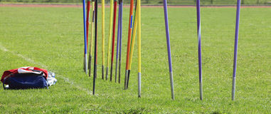 Javelins. Stuck in the ground and sport equipment during a training session Stock Images