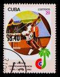 Javelot jetant, avec l'inscription et le nom du ` XIV de série jeux d'Amérique centrale et des Caraïbes, ` de La Havane, vers 198 Images stock