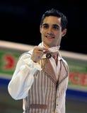 Javier FERNANDEZ (ESP) levanta com medalha de ouro Fotografia de Stock Royalty Free