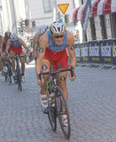 Javier Gomez Noya and group of cycling triathlon competitors Royalty Free Stock Photos