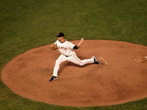 Javier Lopez steps forward to throw pitch Royalty Free Stock Photo