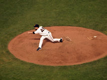 Javier Lopez steps through throw of pitch Royalty Free Stock Images