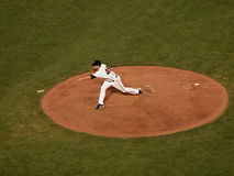 Javier Lopez throws pitch ball flying in the air Royalty Free Stock Image