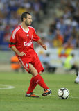 Javier Mascherano. Argentinian player of Liverpool FC, in action during a friendly match against RCD Espanyol at the Estadi Cornella-El Prat on August 2, 2009 Royalty Free Stock Photo
