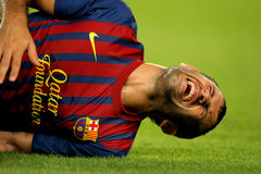 Javier Mascherano of FC Barcelona injured Royalty Free Stock Photo